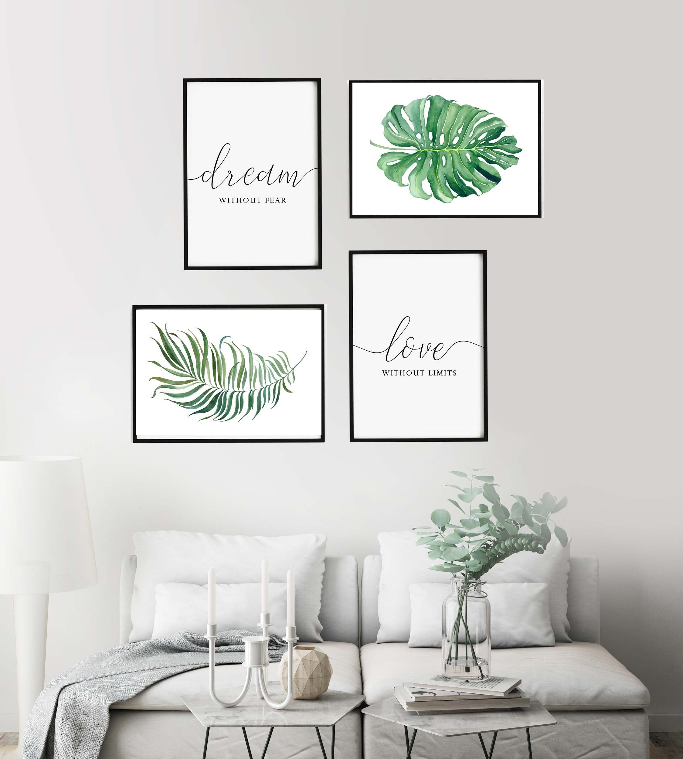 Set Of 4 Printsdream Without Fear Love Without Limitsliving Etsy Wall Decor Living Room Room Wall Decor Wall Printables Wall photos for living room
