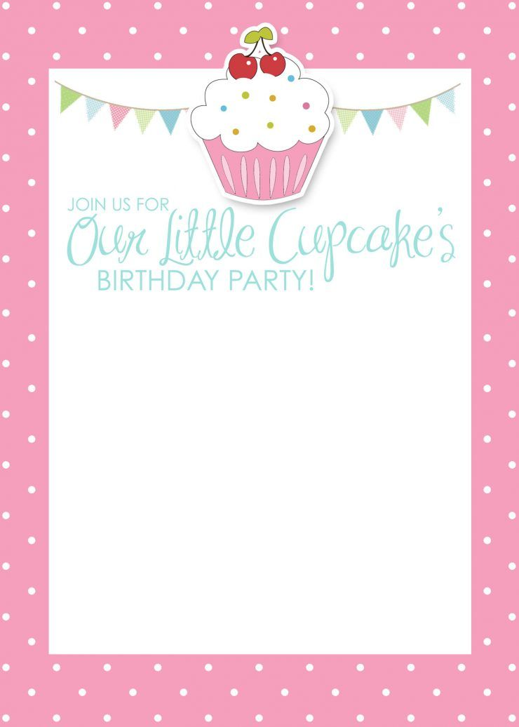 birthday cup cake party invitations free printable cupcake themed