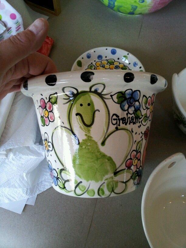Frog print flowerpot