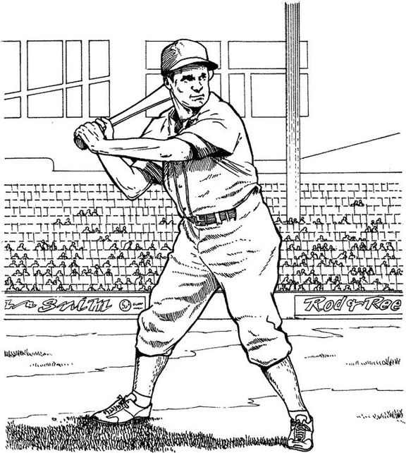 Batting for a Home Run Baseball Coloring Page | Purple Kitty ...