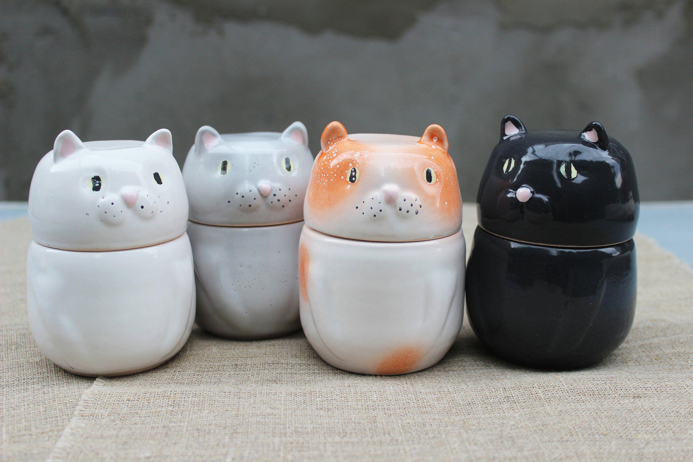 New TEACUP KITTEN Figurine Statue BLACK /& WHITE CAT in Cup Mug Sculpture ~Cute~