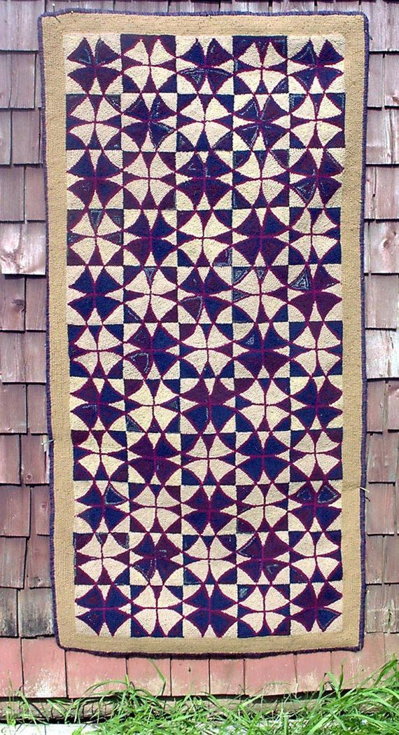 Rug Hooking Pattern Traditional Pei Geometric On Linen Frames Patterns