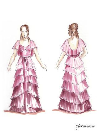 An illusration of Hermione in her Yule Ball dress - better quality ...