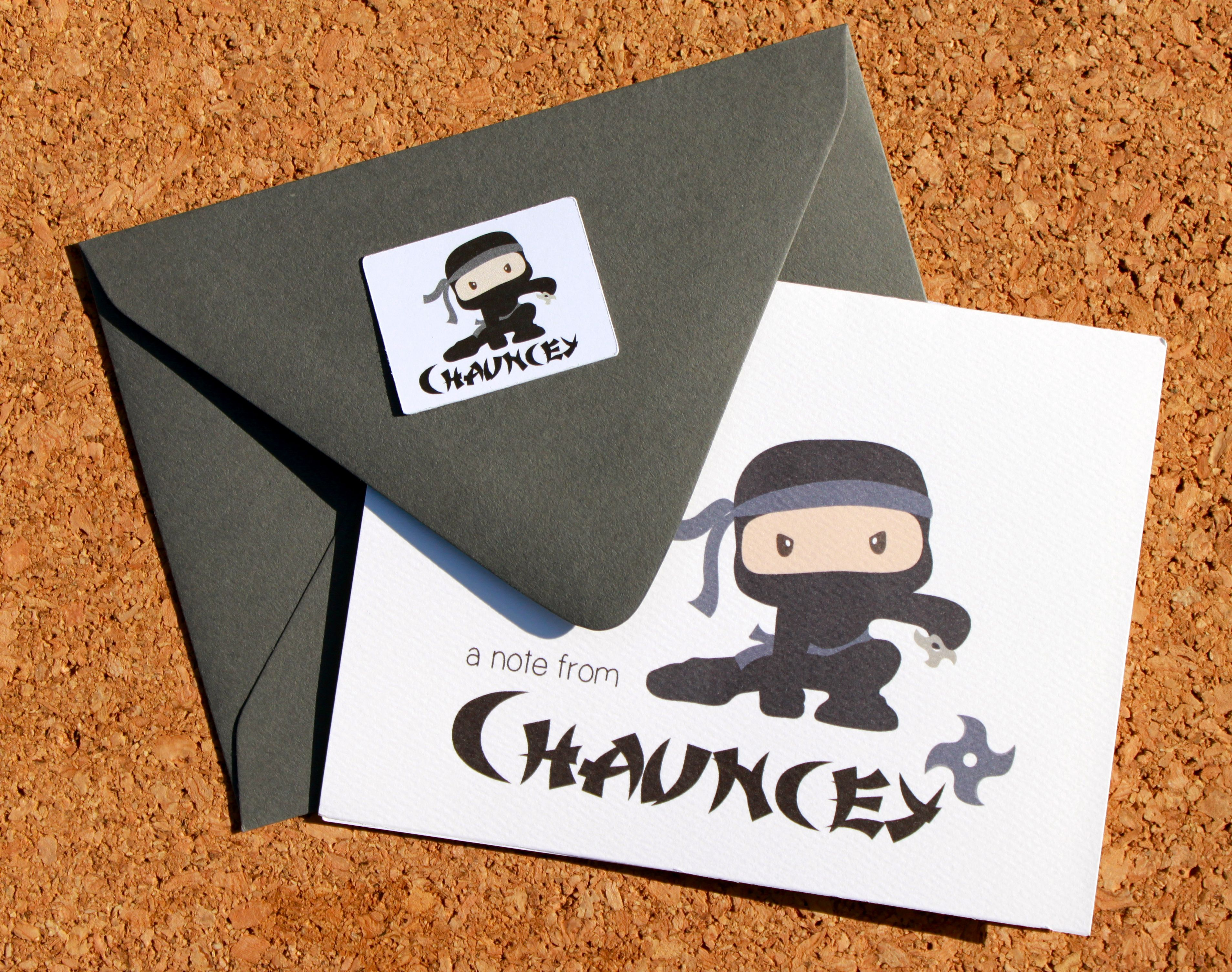 Personalized Ninja Thank You Cards Ninja Thank You Notes
