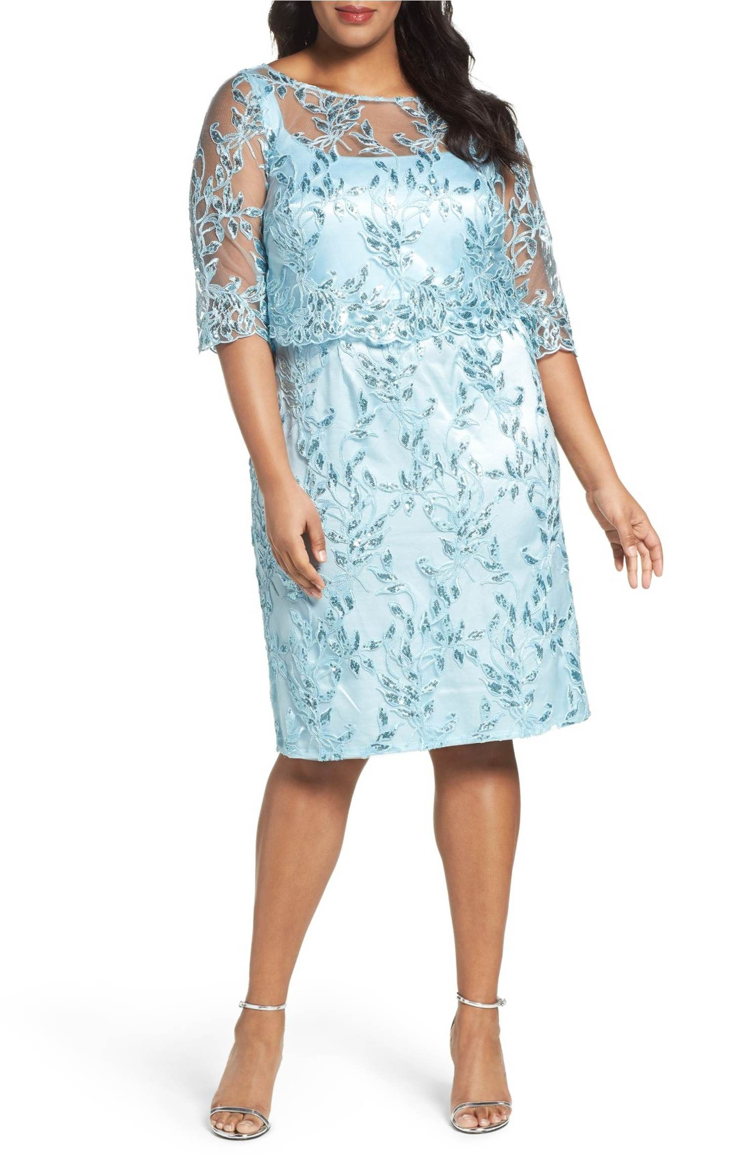 Main Image - Brianna Embellished Embroidered Popover Dress (Plus ...