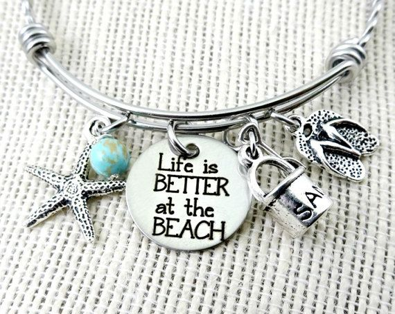 Life Is Better at the BEACH Bangle Bracelet or Necklace