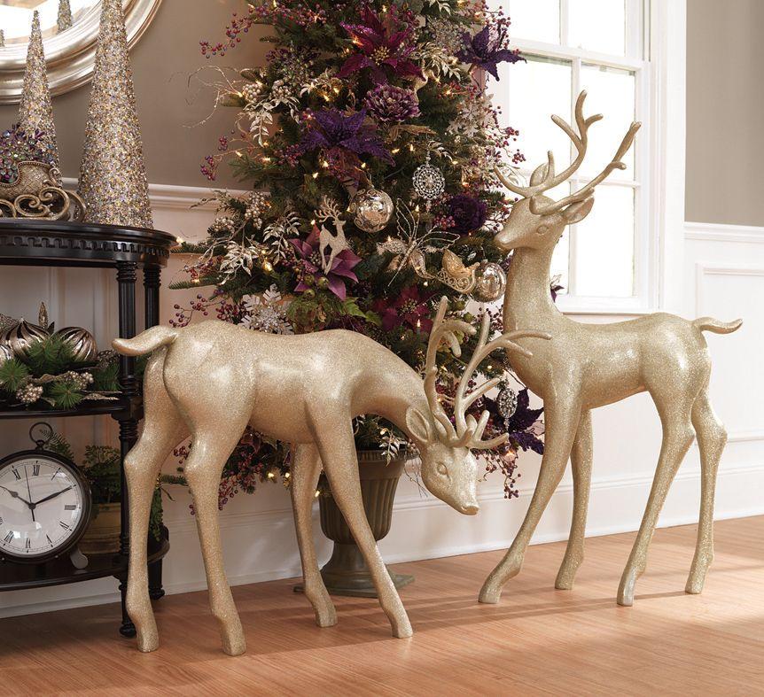 Frosty plum golden reindeer   Seasonal concept