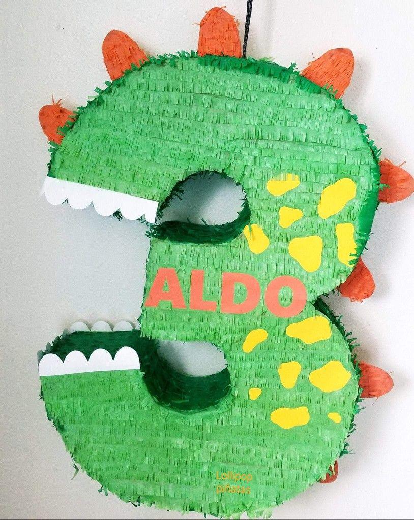 Large Number Four Pinata Third Birthday Pinata Bright Green Dinosaur Theme