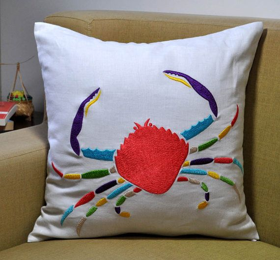 Hey, I found this really awesome Etsy listing at https://www.etsy.com/listing/161496358/crab-decorative-pillow-18-x-18-white