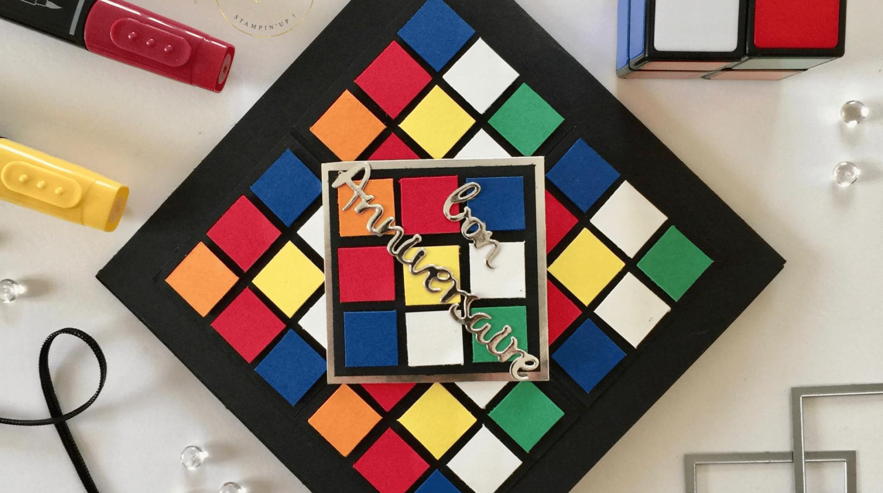 Carte Anniversaire Pop Up Rubik S Cube Et Son Tutoriel Carte Anniversaire Carte Anniversaire Scrap Carte
