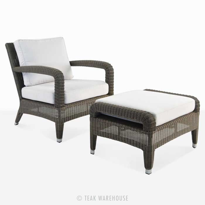 Aaron Outdoor Wicker Chair And Ottoman Set Kubu Chair And Ottoman Set Outdoor Wicker Chairs Chair And Ottoman