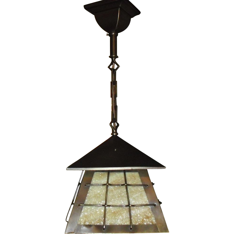 Arts and crafts lighting fixtures arts and crafts ceiling lights arts crafts brass w slag glass pendant light fixture fixture is mozeypictures Images