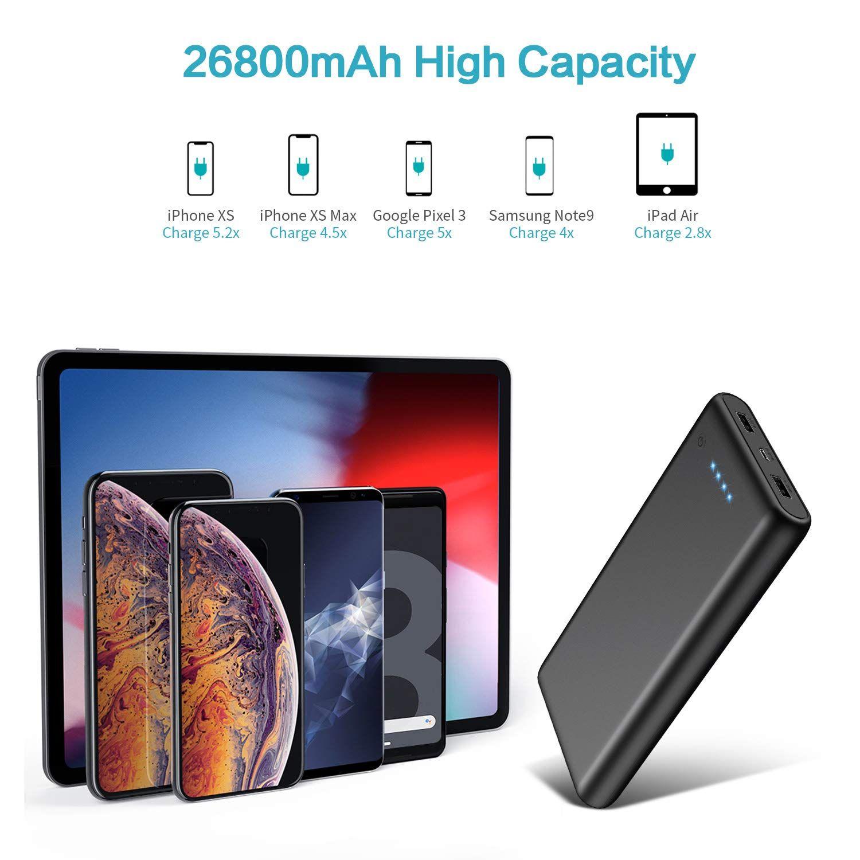 Trswyop Powerbank 26800mah Hohe Kapazitat Externer Akku Usb Tablet Led