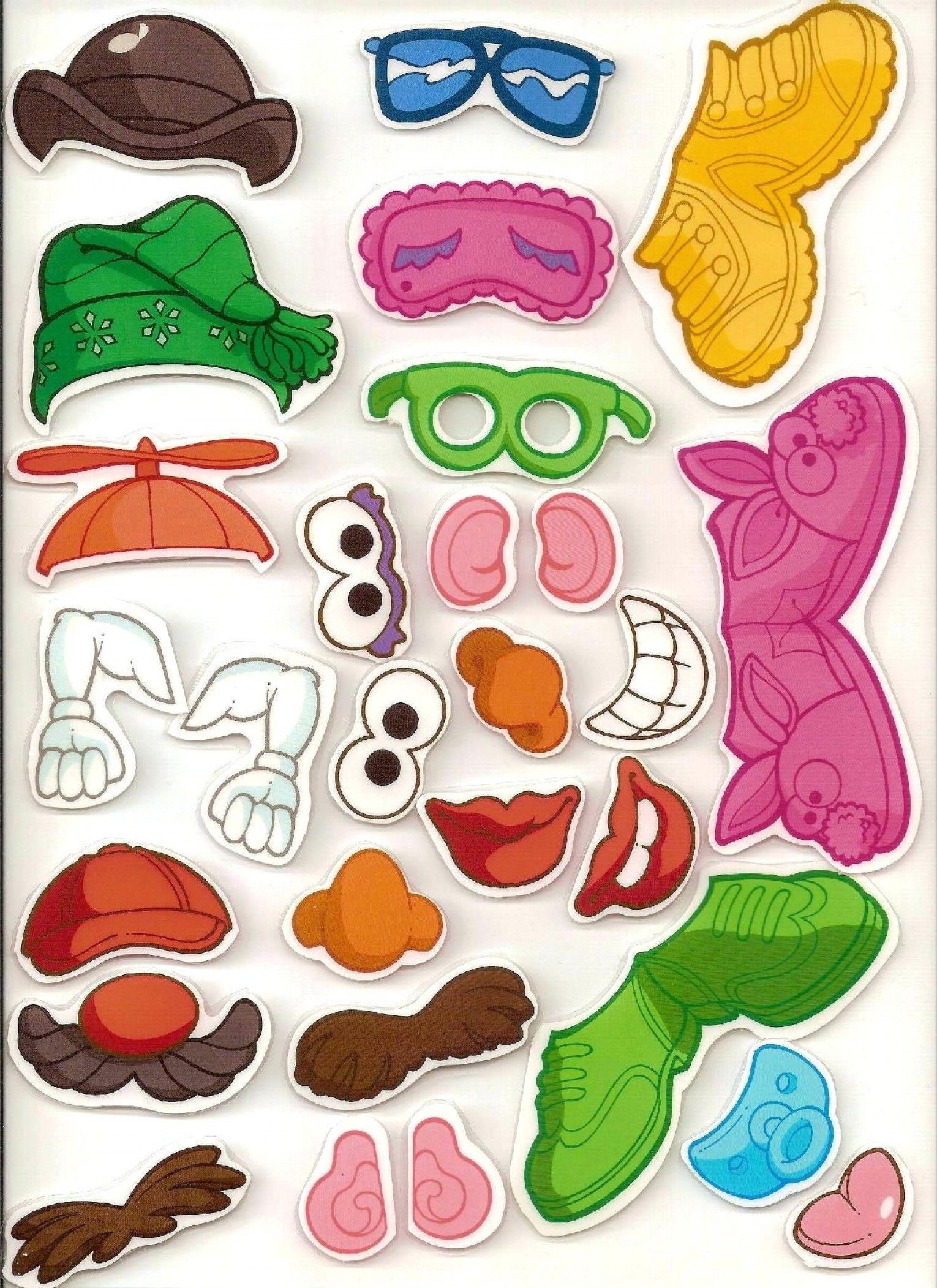 Mr Potato Head Body Parts Printables Template Tutorial Felt Accessories Printable