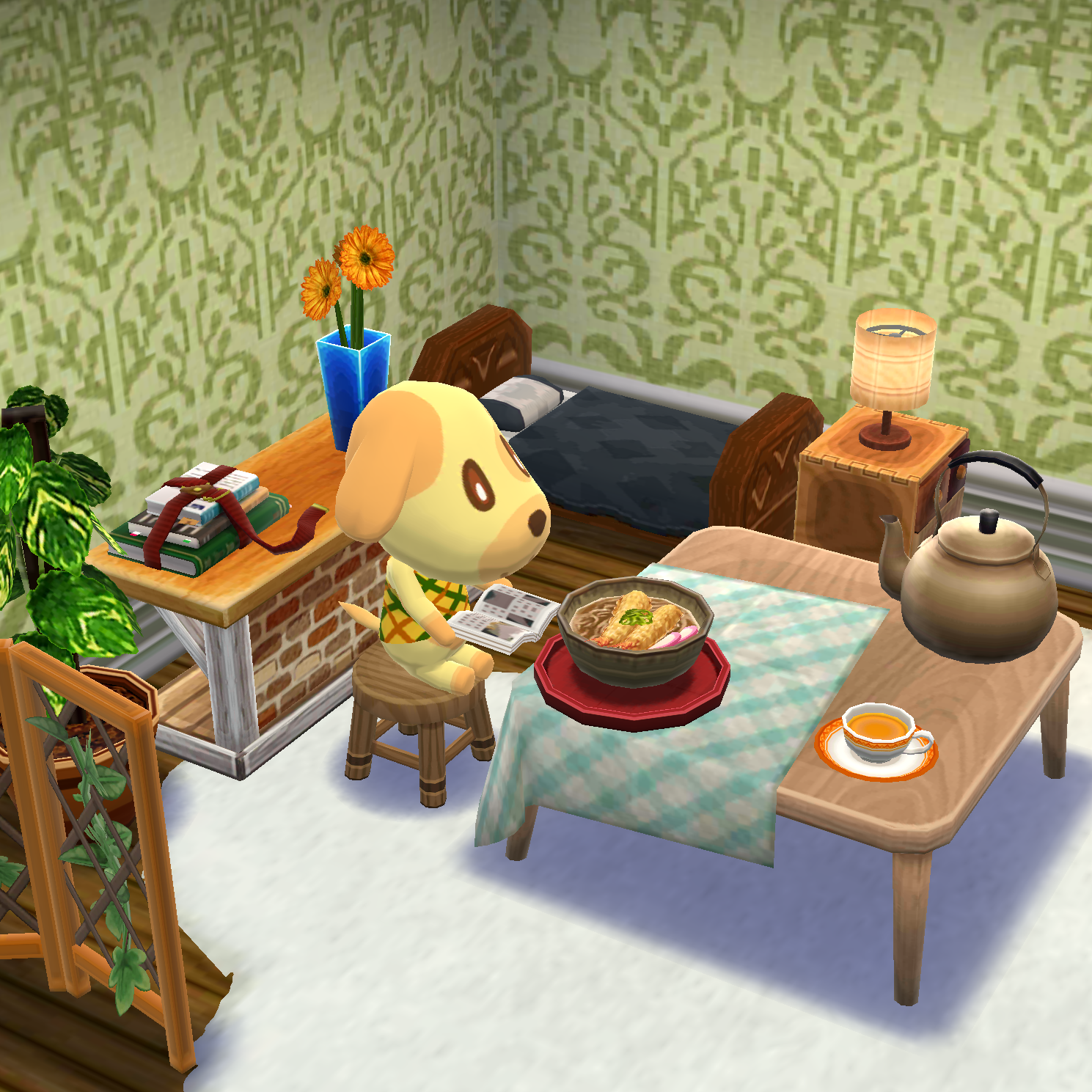 Goldie with ramen 🍜🌻 Animal crossing pocket camp, Animal