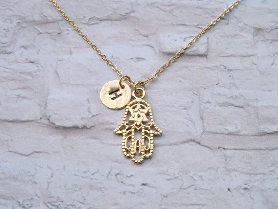 Hand necklace Hamsa & initial necklace Hand of by saragalstudio