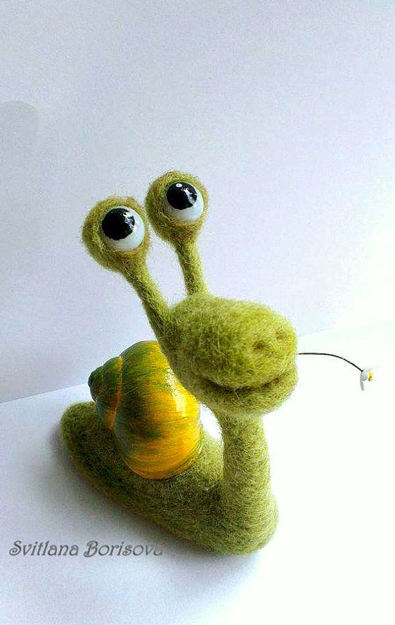 Funny animal, Figurine funny animals. Soft sculpture of romantic snail is made of ecologically pure sheeps wool using a dry needle felting technique.  This green snail guy is a big dreamer, he would be happy to live on a shelf or worktop, and dreaming together with you or your sweetheart. Thanks to the flexible frame you can change the position of the eyes and create various moods. House of snail is a natural shell, it is cleaned and disinfected.