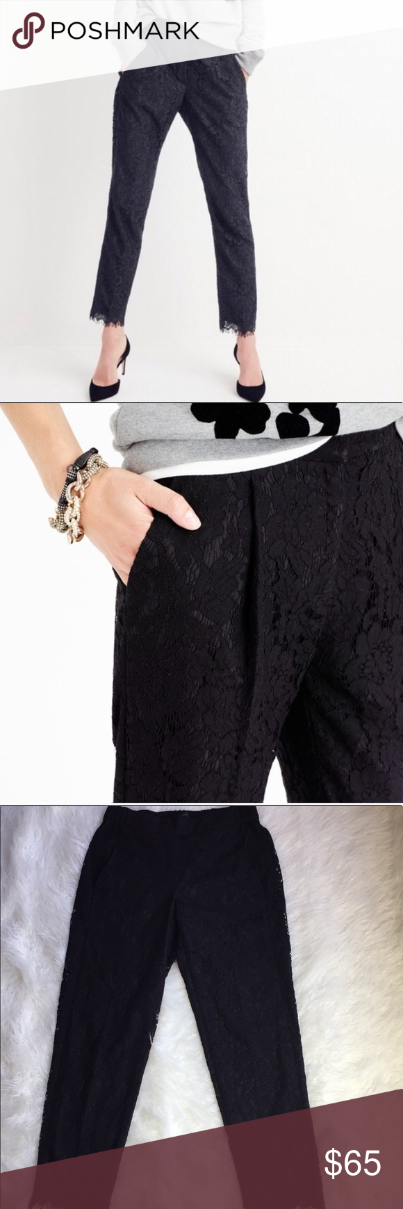 47664ebb J Crew Easy pant in lace black J. Crew easy pants in black lace with ...