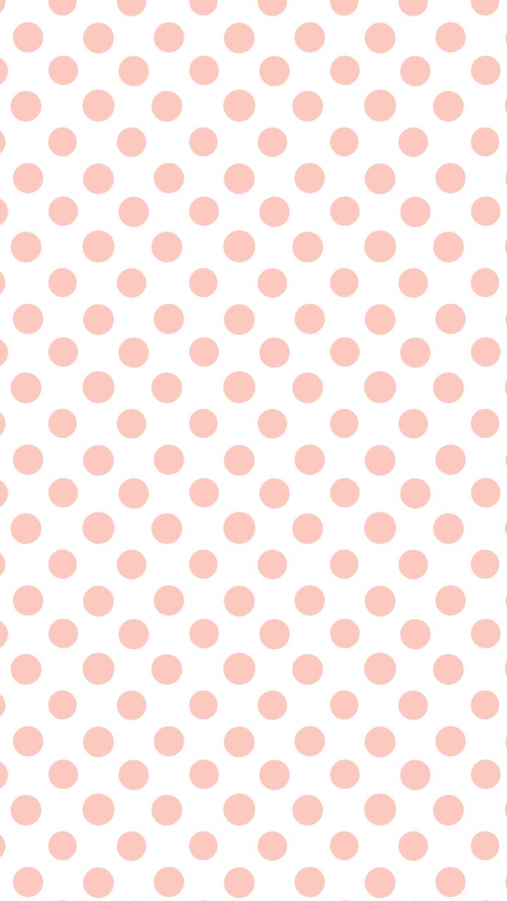 White Coral Peach Polka Dots Spots Iphone Wallpaper
