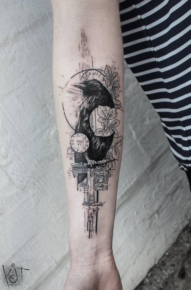 Minimalist Raven Tattoo: Raven Forearm Black Tattoo By KOit, Berlin