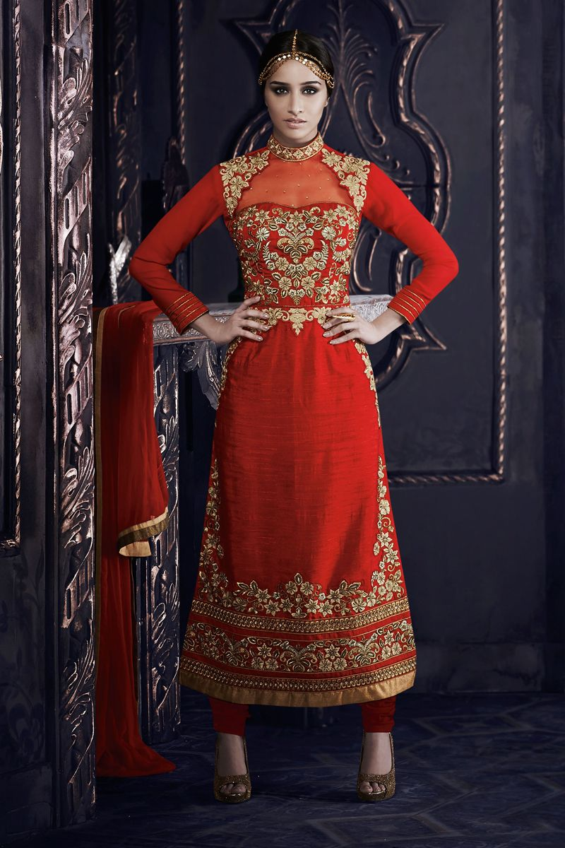 a62d42ca0963 Red Designer Shraddha Kapoor Party Wear Suit From Skysarees ...