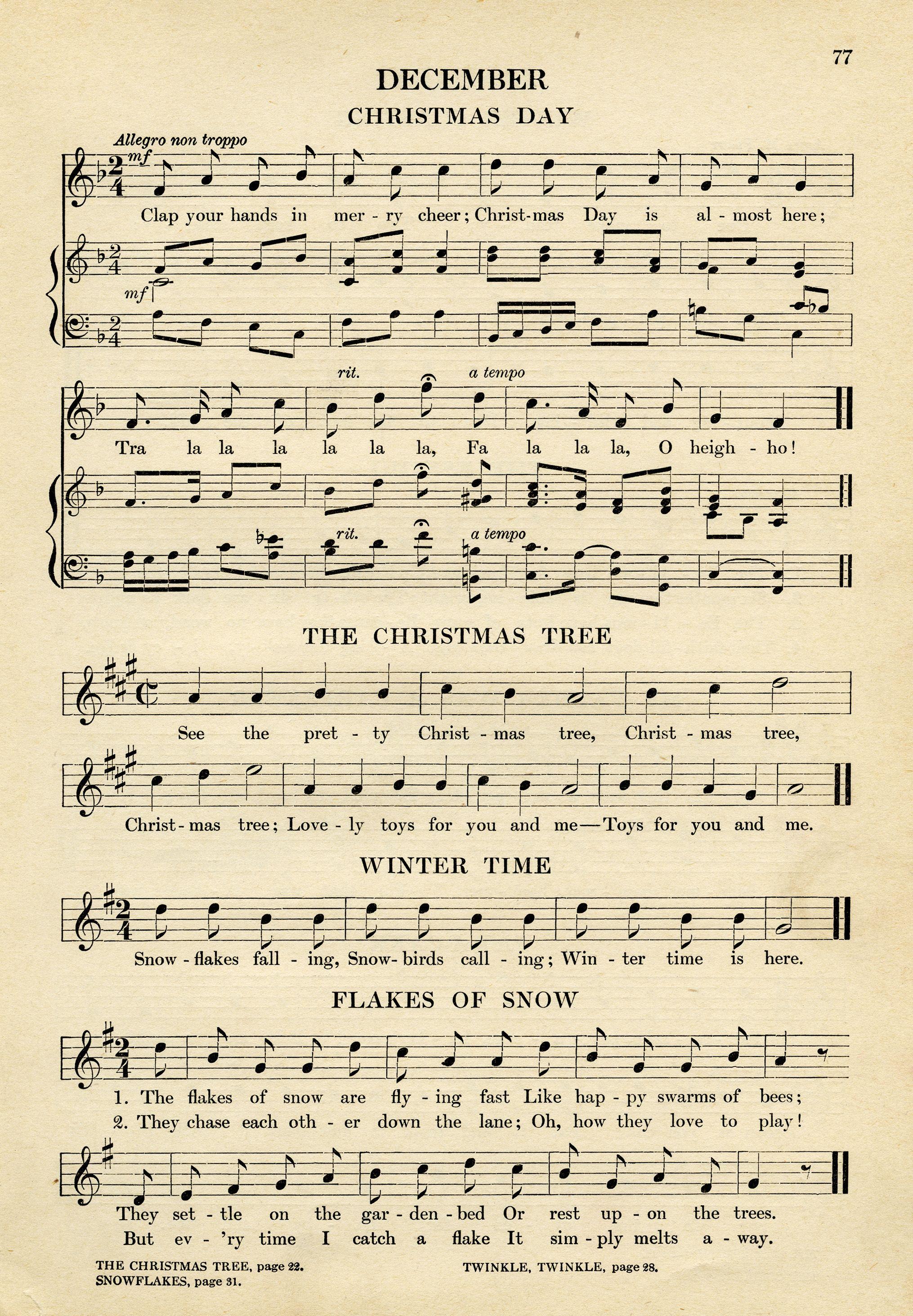 vintage sheet music, songs for December, kindergarten music