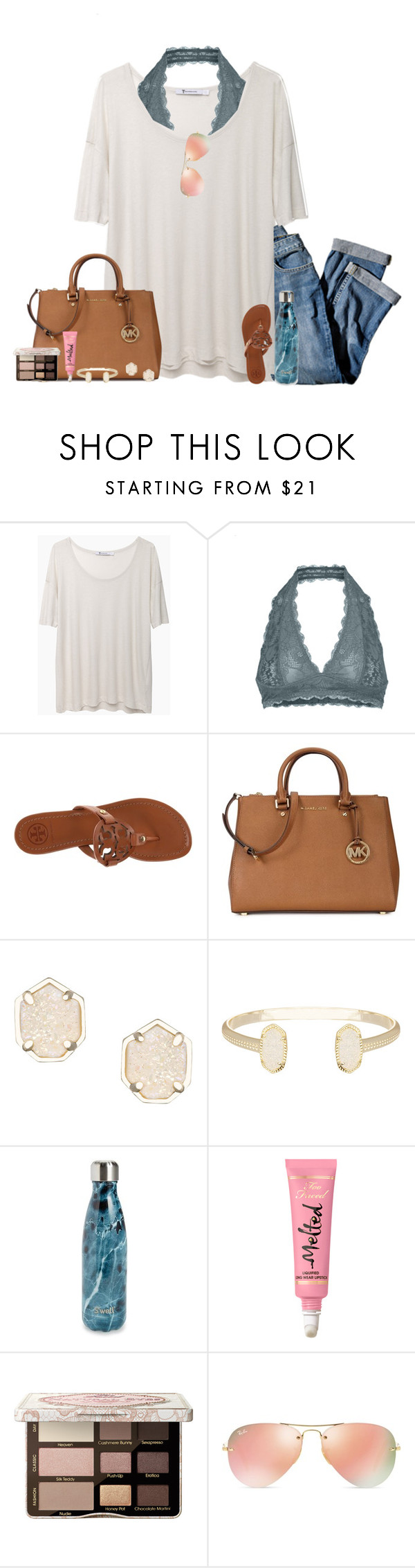 """""""Shopping """" by classicallyclaire ❤ liked on Polyvore featuring T By Alexander Wang, Free People, J.Jill, Tory Burch, Michael Kors, Kendra Scott, S'well, Too Faced Cosmetics, Ray-Ban and springbreakformaggie"""