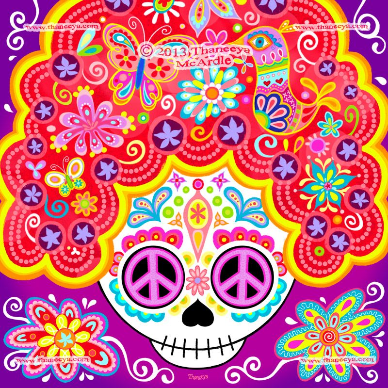 Groovy Sugar Skull Lady Art By Thaneeya McArdle Created