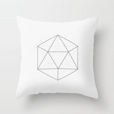 Black & White Icosahedron Throw Pillow by Andrea Roman