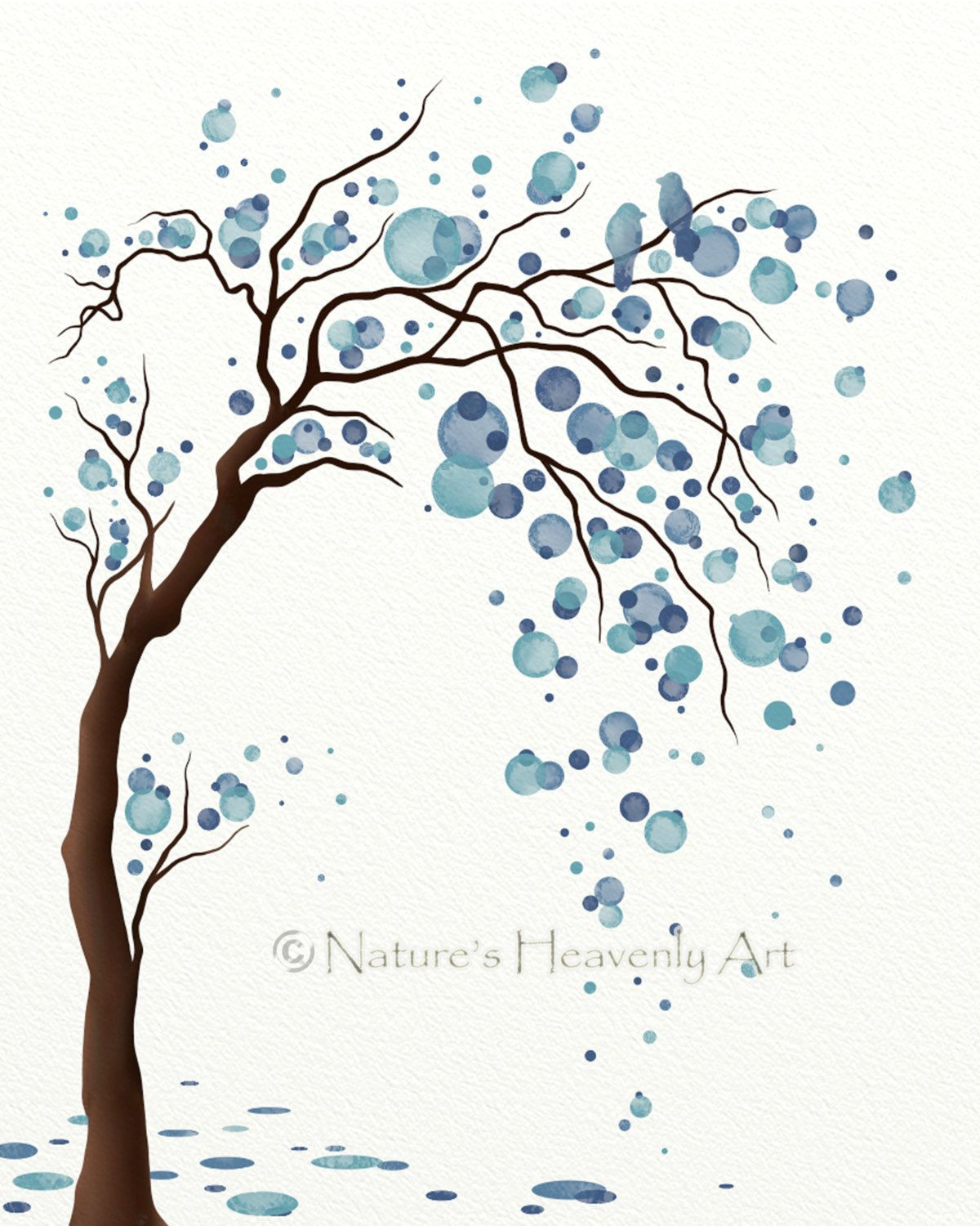 Blue Decor Watercolor Tree Art Print Poster, Abstract Tree Wall ...