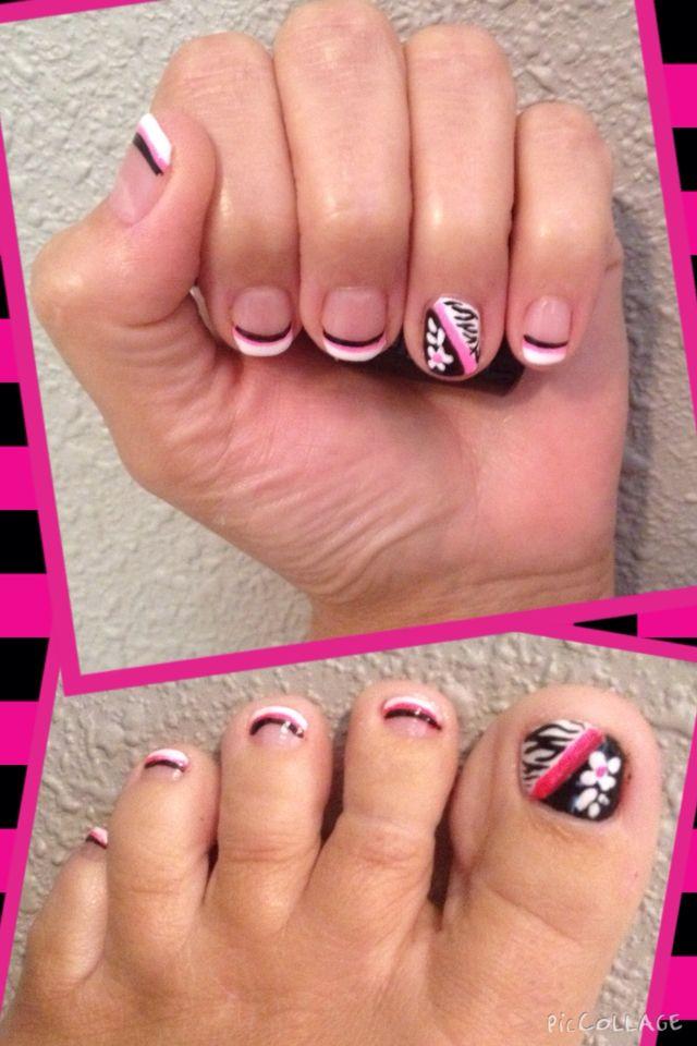 Zebra matching mani & pedi   The Painted Nail Salon   Pinterest ...