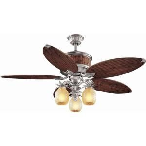 hampton bay colonial bamboo 52 in pewter ceiling fan with light vent air spyda