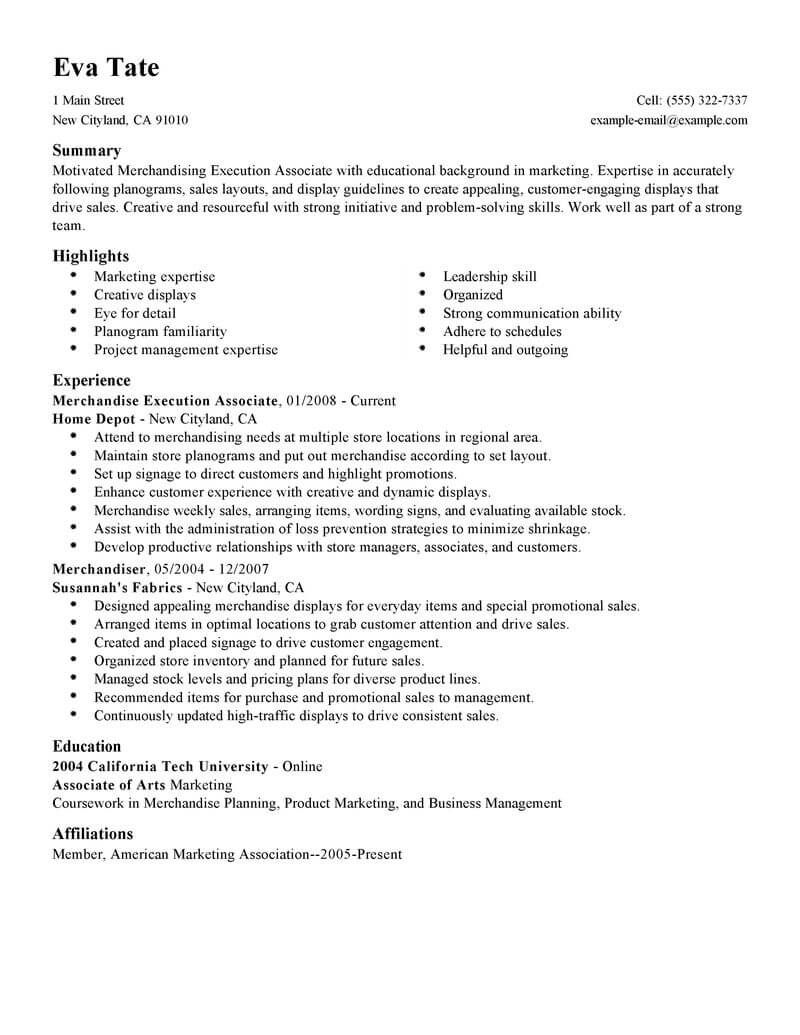 Best Merchandising Execution Associate Resume Example With Images
