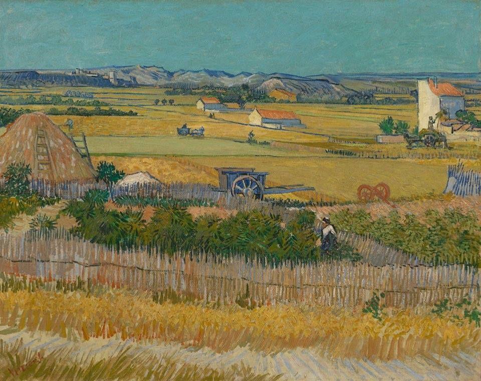 he Harvest (aka, Harvest at La Crau with Montmajour in the Background), 1888. Oil on canvas, 73 x 92 cm. Van Gogh Museum, Amsterdam, Netherlands. Image: Van Gogh Museum, Amsterdam.  11351152_852302131490969_8354235695206721594_n.jpg (960×761)