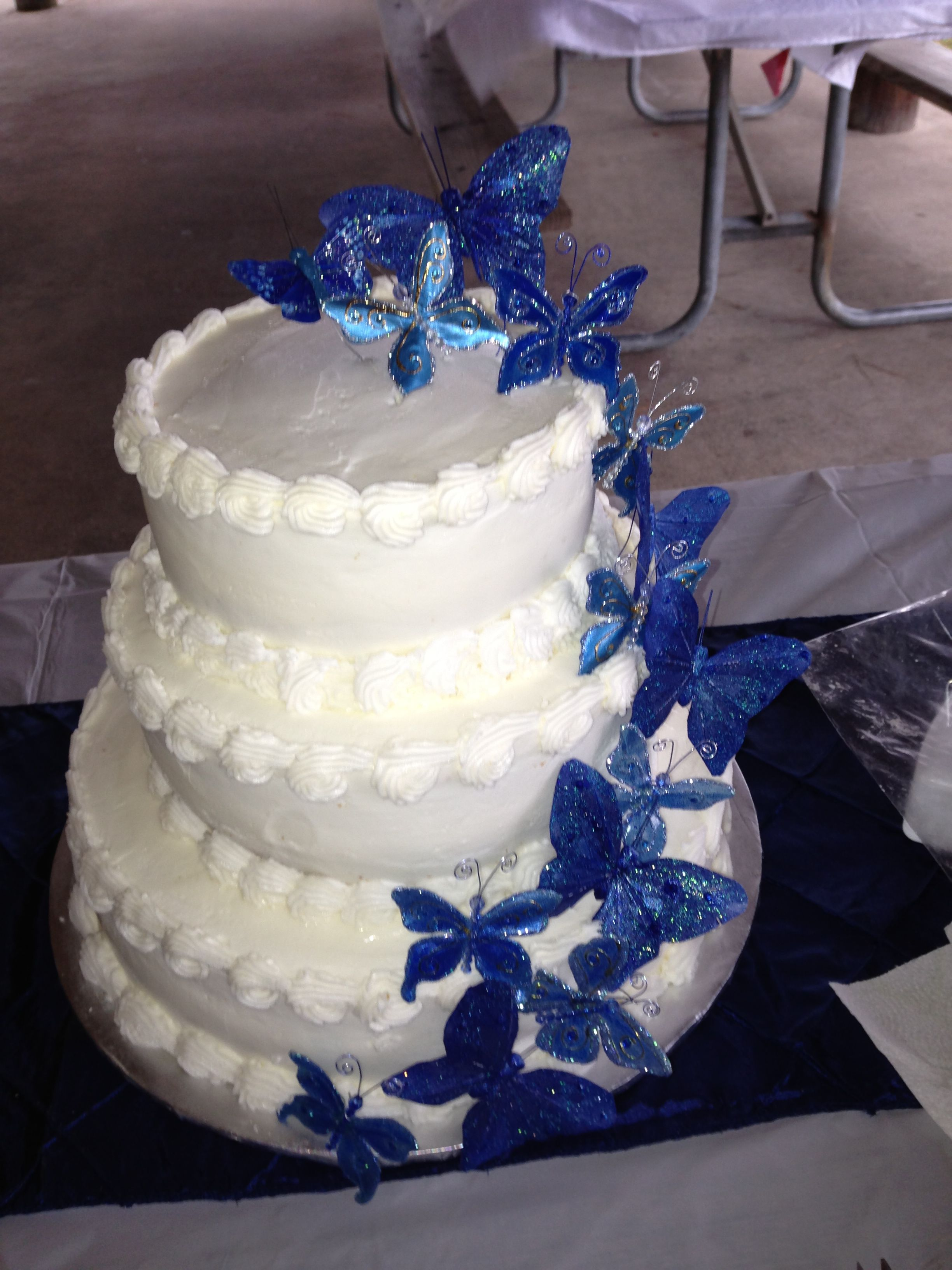 Blue Butterfly Wedding cake Wedding Pinterest