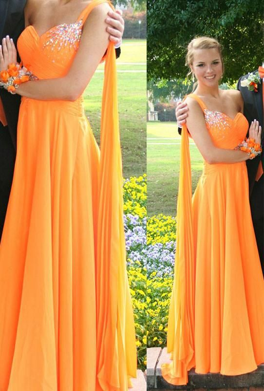 Orange A-line one shoulder beaded chiffon long floor-length Prom ...
