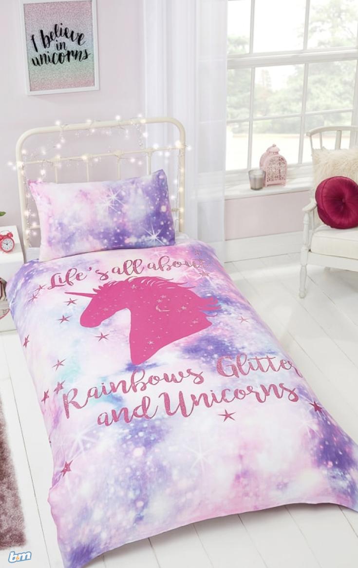 Unicorn Bedroom Set: Rainbow Unicorn Single Duvet Set
