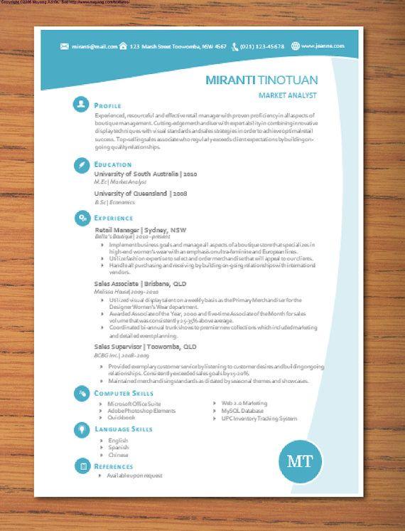 Modern Microsoft Word Resume Template Miranti by Inkpower, $1200