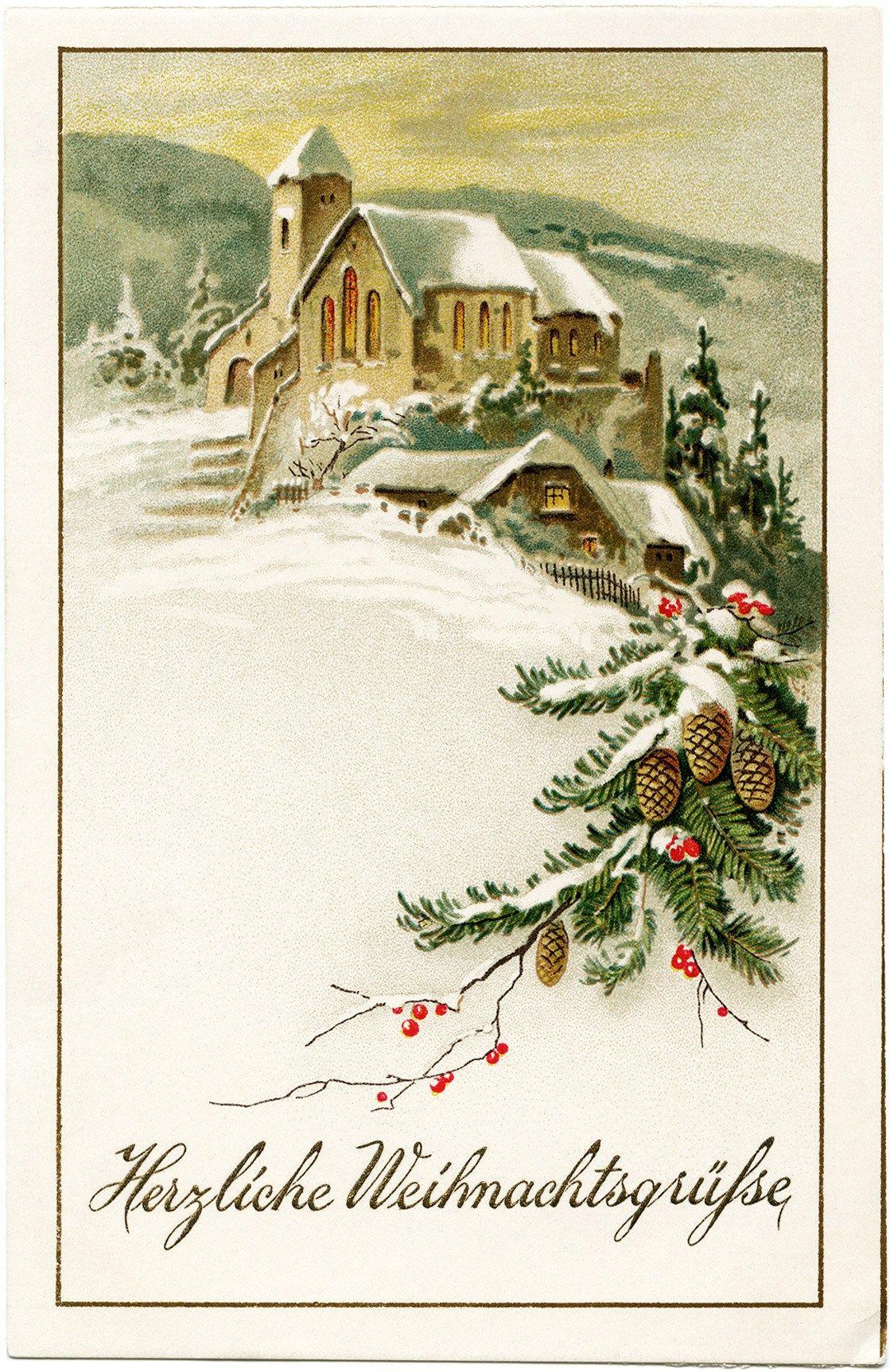 German Christmas Postcardwarm Christmas Greetings German