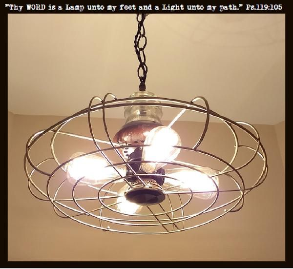 Light Chandelier Vintage Fan Cage Pendant Ceiling Lighting Fixture Edison Bulb One Of A Kind Lamp