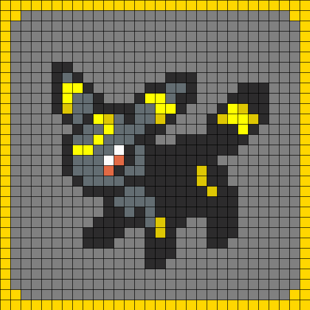 Umbreon pokemon coaster set 8 perler bead pattern bead for Umbreon pixel art template