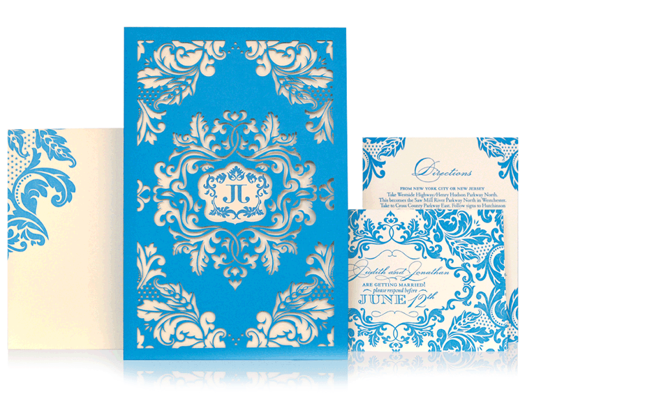 4th of July wedding invitation. With baroque fireworks and stars