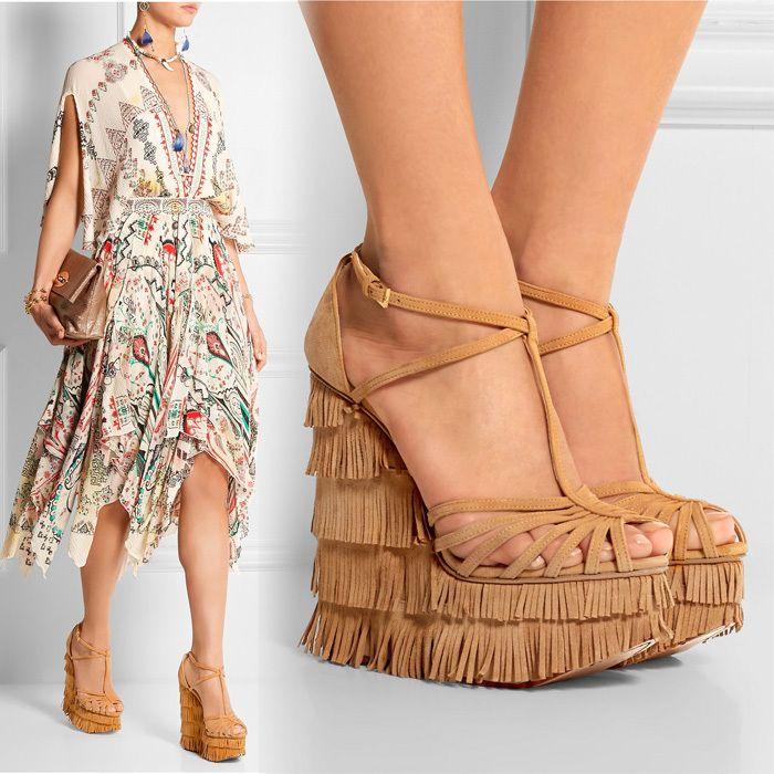 New Arrival 2015 Fashion Fringe Wedge Heels Sandals Sexy Designer Strappy  Buckle Platform Women Sandals Top