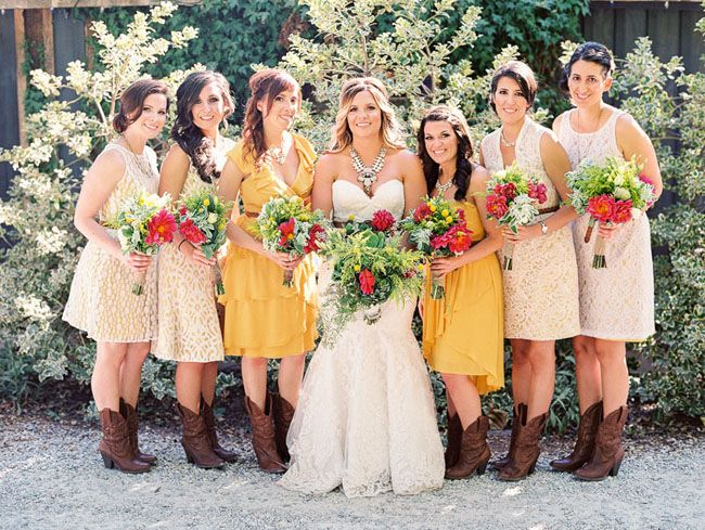 Lovely dresses and boots bridesmaids good for fall or autumn wedding