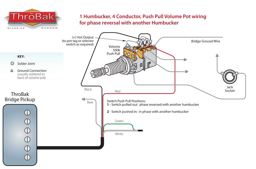 Throbak Humbucker Guitar Pickup Push Pull Phase Switch Wiring Diagram