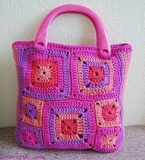 Granny square crochet tote - gorgeous colors!