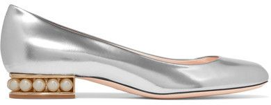 EXCLUSIVE AT NET-A-PORTER.COM. Nicholas Kirkwood's 'Casati' pumps have been made in Italy from silver leather in this season's must-have shape. The cutout gold block heel is studded with a row of lustrous faux pearls - a brand signature. Style yours with everything from dresses to cropped jeans.