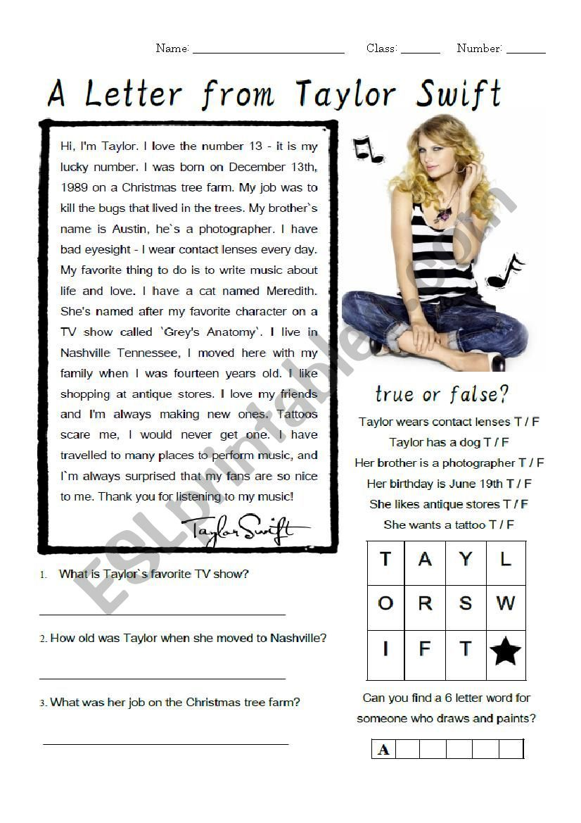 hight resolution of Taylor Swift Biography Worksheet - ESL worksheet by Jinx77   Taylor swift  biography