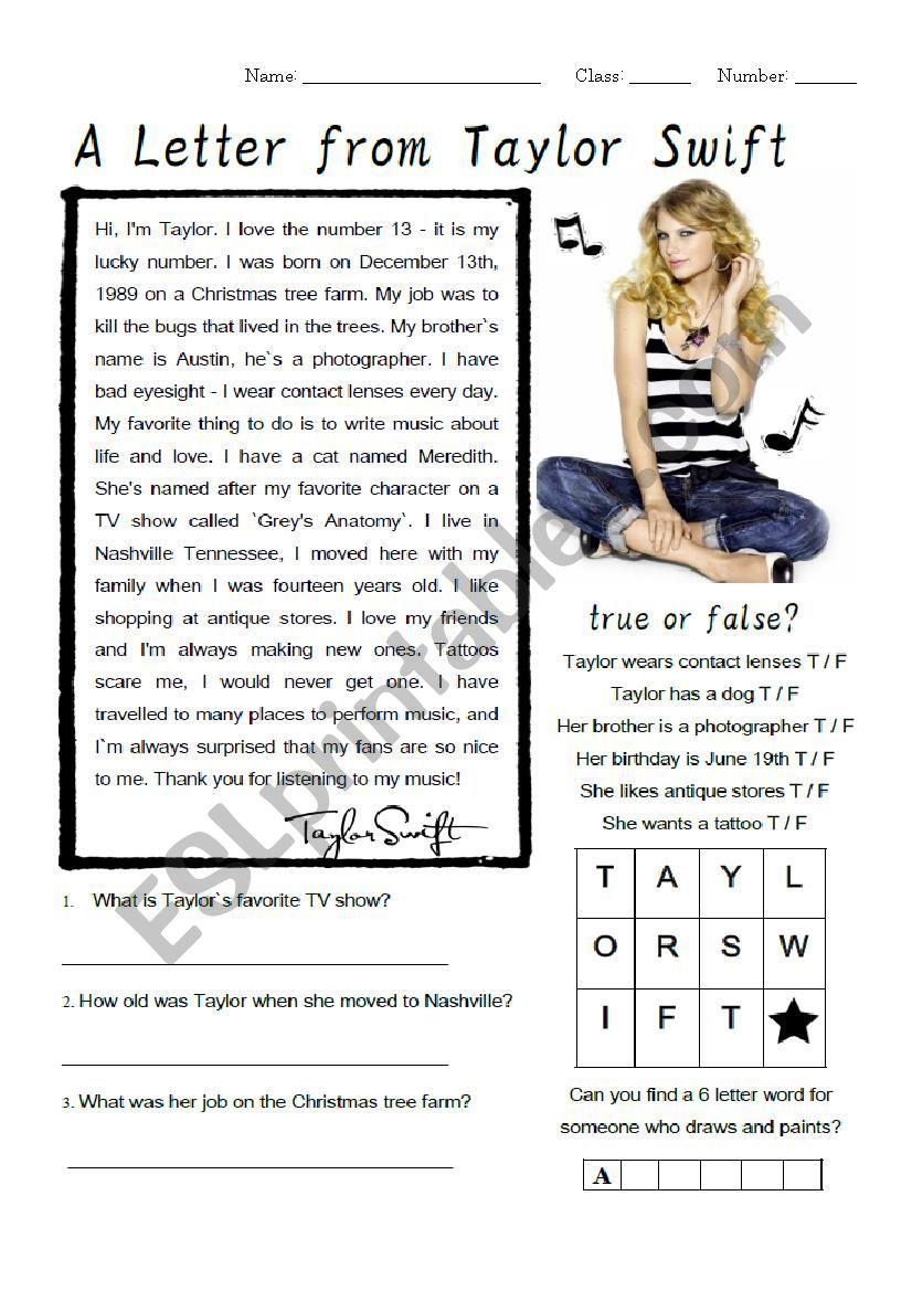 Taylor Swift Biography Worksheet - ESL worksheet by Jinx77   Taylor swift  biography [ 1169 x 826 Pixel ]