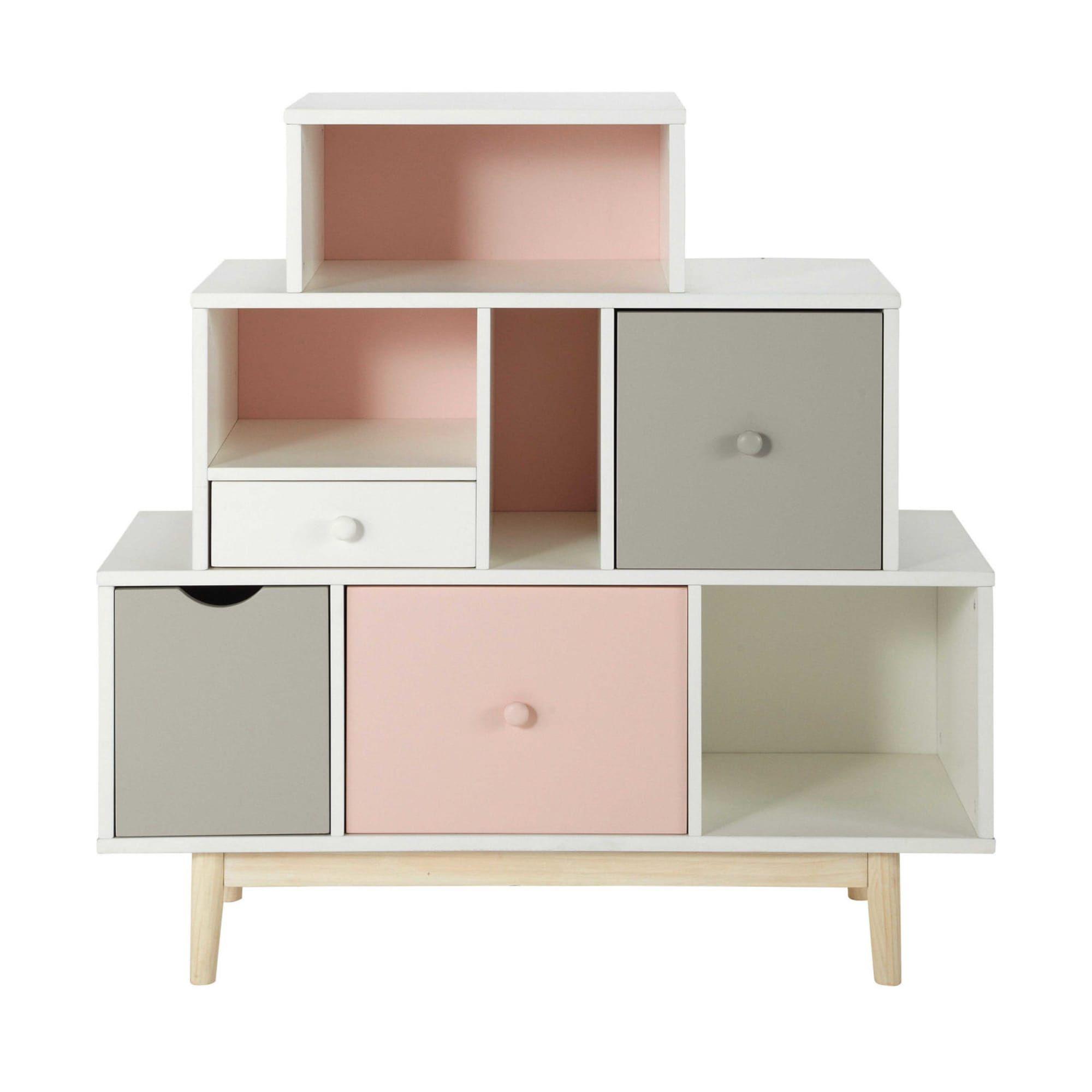 Cabinet de rangement 4 tiroirs blanc, rose et gris | Cabinet de rangement, Meuble rangement ...